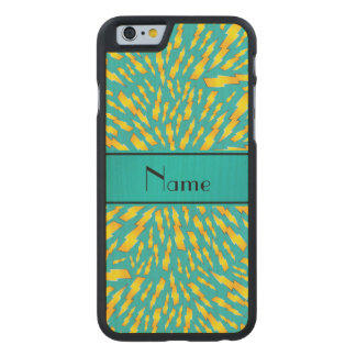 Personalized name turquoise lightning bolts carved® maple iPhone 6 case