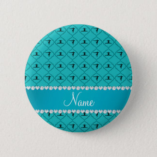 Personalized name turquoise moroccan gymnastics 2 inch round button