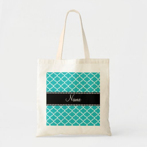 Personalized name turquoise moroccan pattern canvas bags