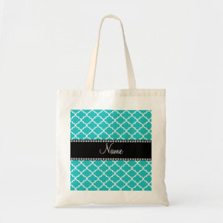 Personalized name turquoise moroccan pattern budget tote bag