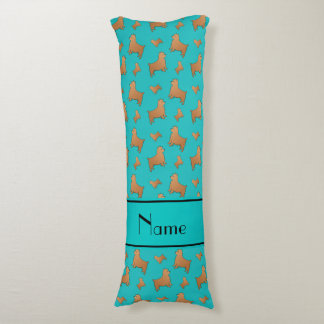 Personalized name turquoise Norwich Terrier dogs Body Pillow