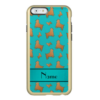 Personalized name turquoise Norwich Terrier dogs Incipio Feather® Shine iPhone 6 Case