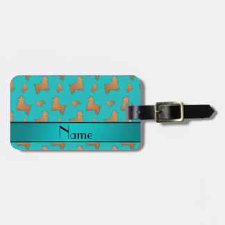 Personalized name turquoise Norwich Terrier dogs Tags For Luggage