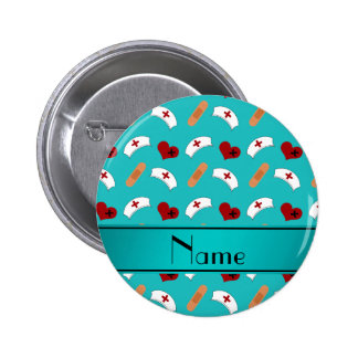 Personalized name turquoise nurse pattern button
