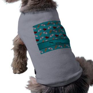 Personalized name turquoise nurse pattern dog tshirt