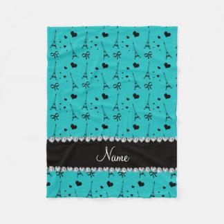 Personalized name turquoise paris eiffel tower fleece blanket