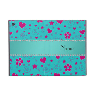 Personalized name turquoise pink flowers hearts cover for iPad mini