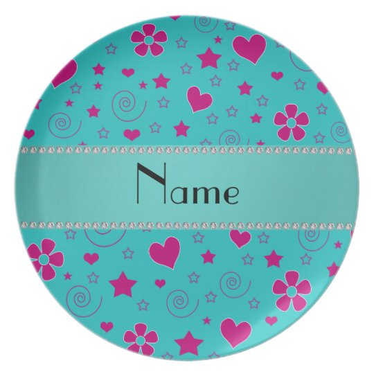 Personalized name turquoise pink flowers hearts plate
