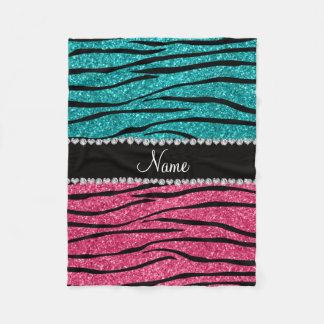 Personalized name turquoise pink glitter zebra fleece blanket