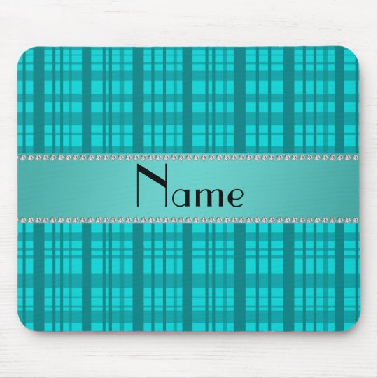 Personalized name turquoise plaid pattern mouse pad