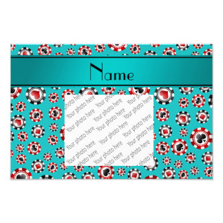 Personalized name turquoise poker chips photographic print