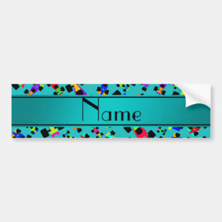 Personalized name turquoise race car pattern car bumper sticker