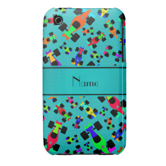 Personalized name turquoise race car pattern iPhone 3 case