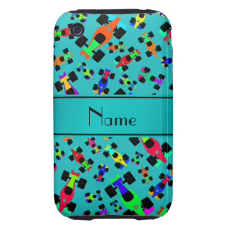 Personalized name turquoise race car pattern tough iPhone 3 cover