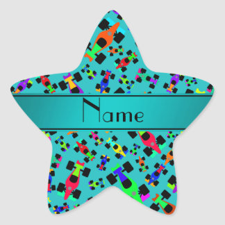 Personalized name turquoise race car pattern star sticker