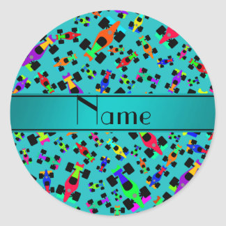 Personalized name turquoise race car pattern round sticker