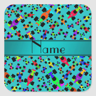 Personalized name turquoise race car pattern square sticker