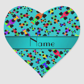 Personalized name turquoise race car pattern heart sticker