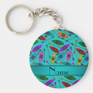 Personalized name turquoise rainbow kayaks basic round button keychain