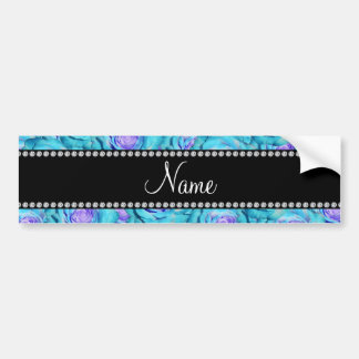 Personalized name Turquoise roses Bumper Stickers