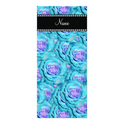 Personalized name Turquoise roses Full Color Rack Card