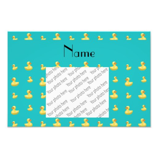 Personalized name turquoise rubber duck pattern photo art