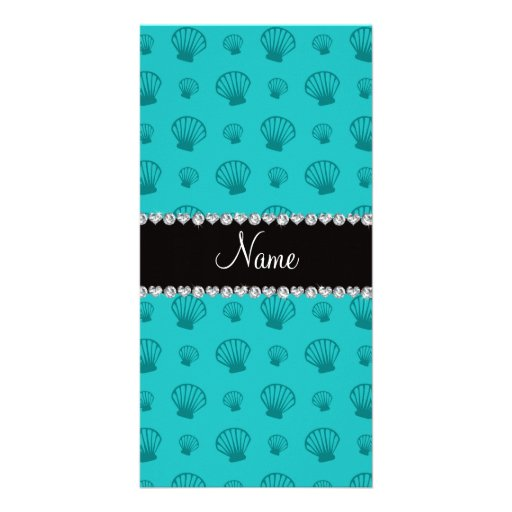 Personalized name turquoise shells photo card
