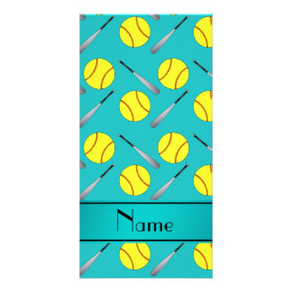 Personalized name turquoise softball pattern photo greeting card