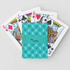 Personalized name turquoise surfboard pattern bicycle playing cards