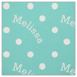 Personalized Name Turquoise Teal Blue Polka Dot Fabric