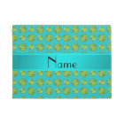 Personalized name turquoise tennis balls pattern doormat