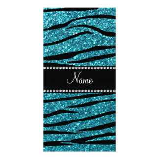 Personalized name turquoise zebra stripes photo card