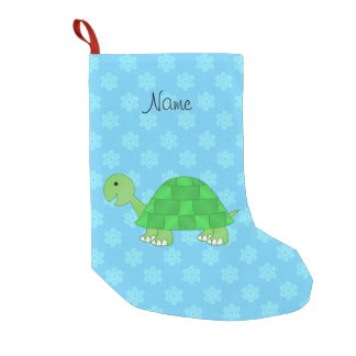 Personalized name turtle light blue snowflakes small christmas stocking