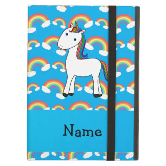 Personalized name unicorn blue rainbows iPad air cases