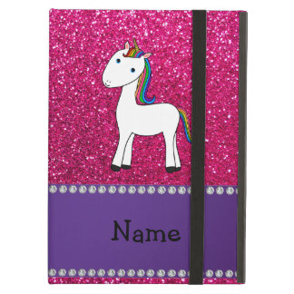 Personalized name unicorn pink glitter cover for iPad air