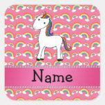 Personalized name unicorn pink rainbows square sticker