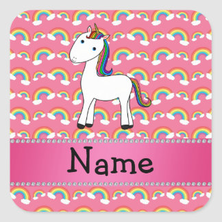 Personalized name unicorn pink rainbows square sticker