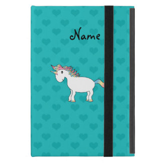 Personalized name unicorn turquoise hearts iPad mini case
