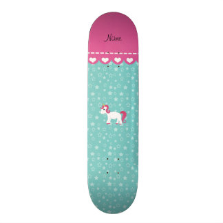 Personalized name unicorn turquoise stars skate deck