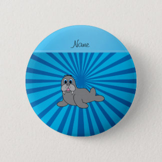 Personalized name walrus blue sunburst 2 inch round button