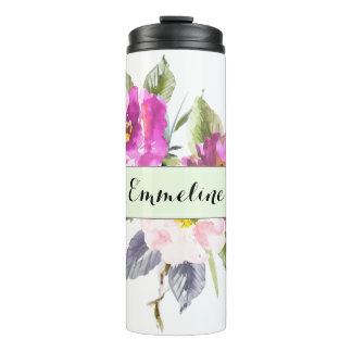 Personalized Name Watercolor Floral Thermal Tumbler
