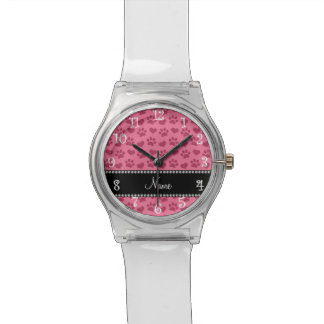 Personalized name watermelon pink hearts and paws wristwatch