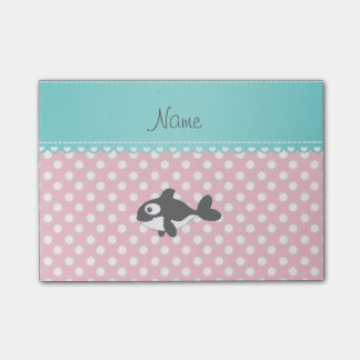 Personalized name whale pink white polka dots post-it notes