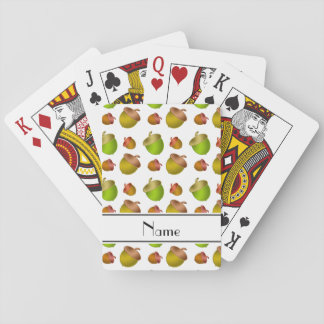 Personalized name white acorns poker deck
