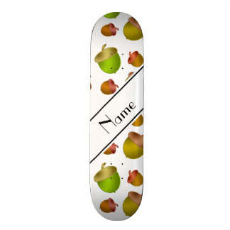 Personalized name white acorns skateboard deck