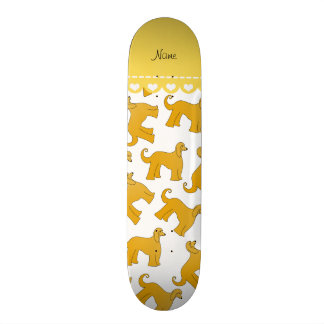 Personalized name white afghan hound dogs skate board deck