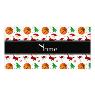 Personalized name white basketball christmas photo card template