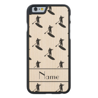 Personalized name white black paddleboarding carved maple iPhone 6 case