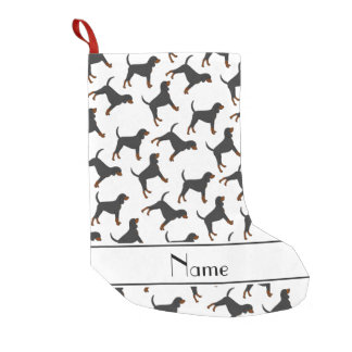 Personalized name white black tan coonhounds small christmas stocking