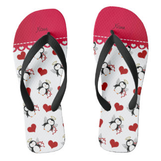 Personalized name white cupid penguins red hearts flip flops